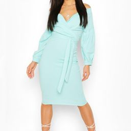 Womens Off The Shoulder Wrap Midi Bodycon Dress - Blue - 8   Boohoo.com (US & CA)