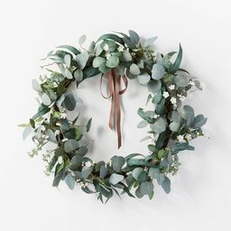 """28"""" Artificial Eucalyptus Leaves and Flower Petal Wreath White - Threshold™ designed with Studi...   Target"""