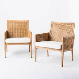 Benmore 2pk Wicker & Faux Wood Patio Accent Chairs - Threshold™ designed with Studio McGee   Target