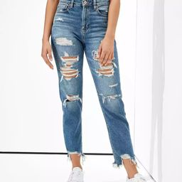 AE Stretch Ripped Mom Straight Jean | American Eagle Outfitters (US & CA)