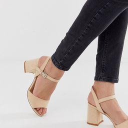 Truffle Collection wide fit block heel sandals-Beige   ASOS (Global)