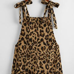 SHEIN Leopard Print Knot Shoulder Patch Pocket Cord Overall Shorts | SHEIN