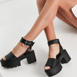 Truffle Collection chunky flatform heeled sandals in black | ASOS (Global)