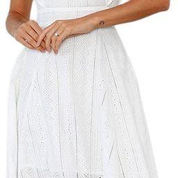 ECOWISH Womens Dresses Elegant Ruffles Cap Sleeves Summer A-Line Midi Dress, Amazon Fashion | Amazon (US)