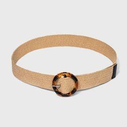 Women's Plus Size Woven Tort Buckle Belt - Ava & Viv™ Natural   Target