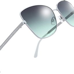 Classic Crystal Elegant Women Beauty Design Sunglasses Gift Box (L175-Silver, Grey/Green) | Amazon (US)