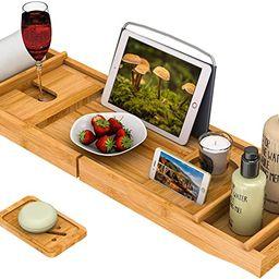 Bath Caddy Tray for Bathtub - Bamboo Adjustable Organizer Tray for Bathroom with Free Soap Dish S... | Amazon (US)