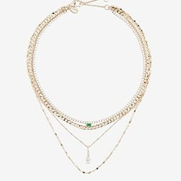 Four Row Stone Pendant Necklace | Express