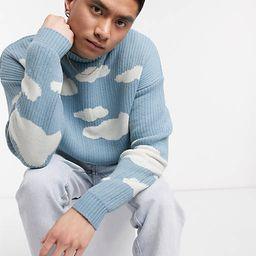 ASOS DESIGN oversized knitted jumper with cloud design | ASOS (Global)