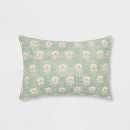 Oblong Block Print Kantha Floral Stitch Decorative Throw Pillow White/Blue - Threshold™   Target