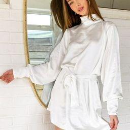 Pretty Lavish Leah tie waist high neck satin shfit mini dress in white   ASOS (Global)