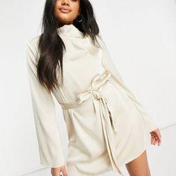 Pretty Lavish high neck satin tie waist mini dress in oyster   ASOS (Global)