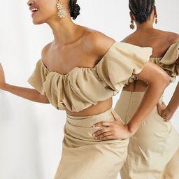 ASOS EDITION puffball off shoulder coordinating top in caramel | ASOS (Global)