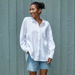 Women's Long Sleeve Button-Down Boyfriend Shirt - Universal Thread™ True White   Target