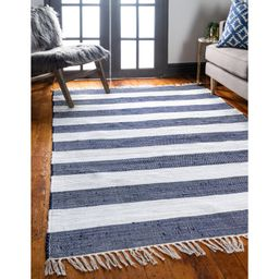 Priolo Striped Hand-Knotted Cotton Navy Blue Area Rug | Wayfair North America