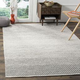 Amaya Geometric Hand-Woven Flatweave Cotton Light Gray/Ivory Area Rug | Wayfair North America