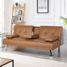 """Janni Twin 66"""" Wide Faux Leather Biscuit Back Convertible Sofa 