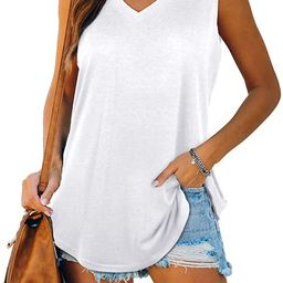 XIEERDUO Womens Tank Tops V Neck Basic Solid Color Casual Flowy Summer Sleeveless   Amazon (US)