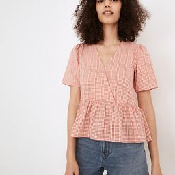 Crossover Peplum Top in Textured Gingham Check | Madewell