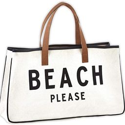 """Creative Brands D3713 Hold Everything Tote Bag, 20"""" x 11"""", Beach Please Black and White   Amazon (US)"""