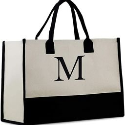 Personalized Monogram Initial 100% Cotton Chic Tote Bag with Customize Option - Black   Amazon (US)