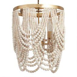 Whitewash Wood Draped Bead 4 Light Chandelier | World Market
