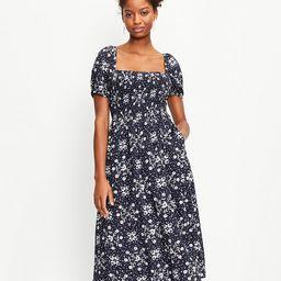 Petite Floral Smocked Puff Sleeve Midi Dress   LOFT