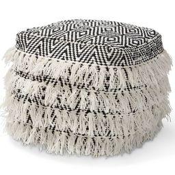 Alian Handwoven Wool Tassel Moroccan Inspired Pouf Ottoman Black/Ivory - Baxton Studio | Target