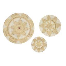 Set of 3 Large Decorative Round Wicker Basket Trays Wall Decor with Star Design Beige/White - Oli... | Target