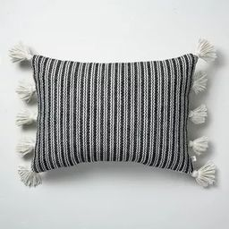 """14"""" x 20"""" Woven Stripes Indoor/Outdoor Throw Pillow Black/Sour Cream - Hearth & Hand™ with Magn... 