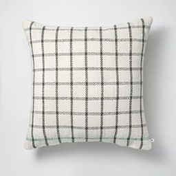 """24"""" x 24"""" Windowpane Plaid Indoor/Outdoor Throw Pillow Gray/Teal/Cream - Hearth & Hand™ with Ma... 