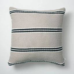 """18"""" x 18"""" Double Stripe Indoor/Outdoor Throw Pillow Black/Gray - Hearth & Hand™ with Magnolia 