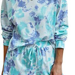 PRETTYGARDEN Women's Tie Dye Printed Pajamas Set Long Sleeve Tops With Shorts Lounge Set Casual...   Amazon (US)