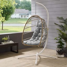 Walker Edison Carmel Modern Rattan Hanging Egg Swing Chair with Stand, 78 Inch, Brown and Grey   Amazon (US)