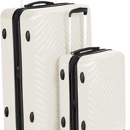Amazon Basics 2 Piece Geometric Hard Shell Expandable Luggage Spinner Suitcase Set - Cream | Amazon (US)