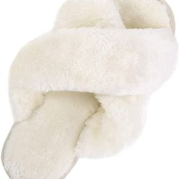 Bhupen Slippers for Women,Cross Band Soft Plush Fleece Slip On House Open Toe Slippers Indoor Out...   Amazon (US)
