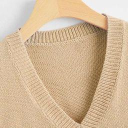 V Neck Solid Sweater Vest | SHEIN