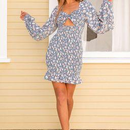 See Me Bloom Dusty Blue Floral Print Smocked Long Sleeve Dress   Lulus (US)