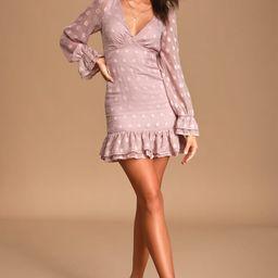 Just Spotted Dusty Mauve Polka Dot Jacquard Ruffled Mini Dress   Lulus (US)
