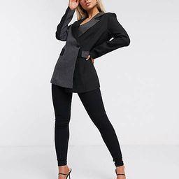Unique21 contrast panelled wrap blazer in black & grey | ASOS (Global)