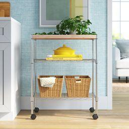 Adjustable Kitchen Cart Manufactured Wood Top   Wayfair North America