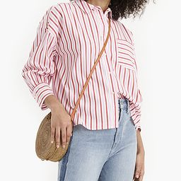 J.Crew Women's Button Down Shirts PINK - Pink & Red Stripe Oversize Poplin Button-Up - Women   Zulily