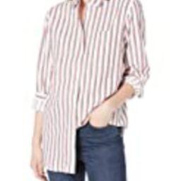 Amazon Brand - Goodthreads Women's Seersucker Long Sleeve Oversized Boyfriend Shirt, White/Red/Navy    Amazon (US)