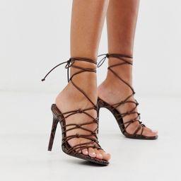 ASOS DESIGN Night strappy heeled sandals in chocolate snake-Brown   ASOS (Global)