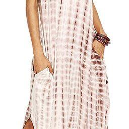 MakeMeChic Women's Boho Maxi Short Sleeve Split Pockets Tie Dye Long Dress | Amazon (US)