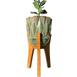 13 in. Teal Ceramic Planter Stand   The Home Depot
