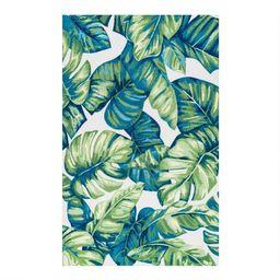 Green Palm Print Indoor Outdoor Rug | World Market