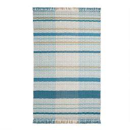 Blue and White Zigzag Stripe Woven Area Rug | World Market
