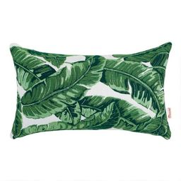Sunbrella Tropical Leaf Outdoor Lumbar Pillow   World Market