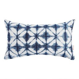Sunbrella Indigo Tile Outdoor Lumbar Pillow   World Market